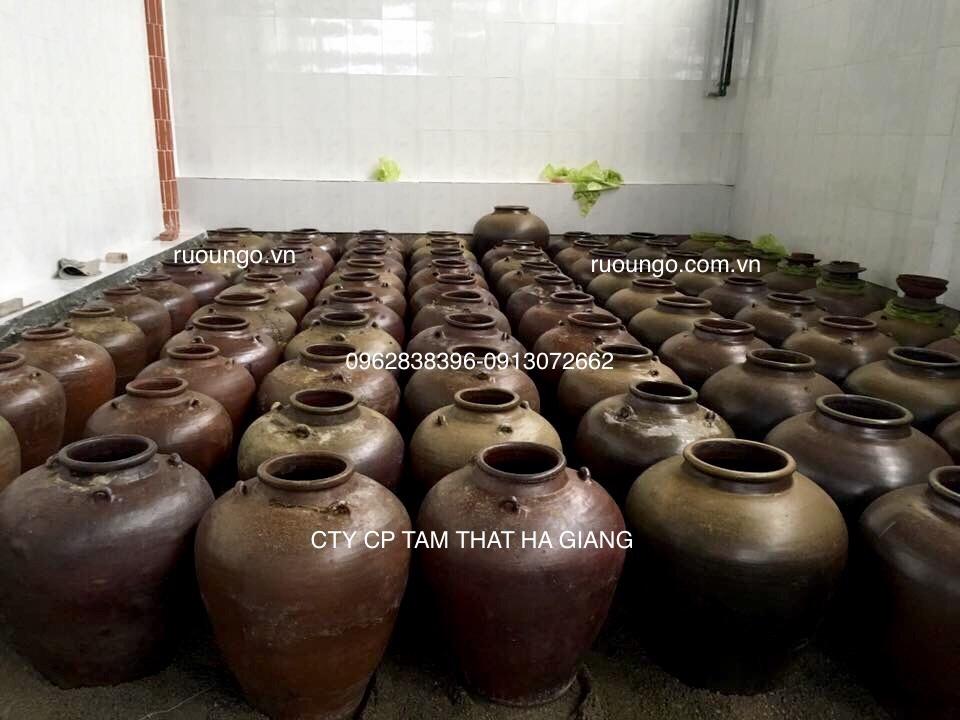 Rượu nấu xong được cho vào chum sành ủ